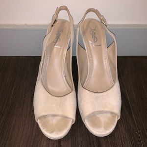 Yves Saint Laurent Beige Platform Slingback Sandal